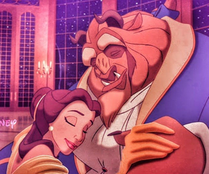 couple, disney, and the beauty and the beast image