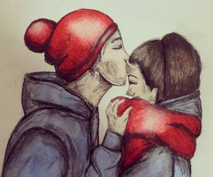 art, cute couple, and drawing image