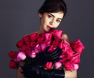 lily collins, flowers, and pink image