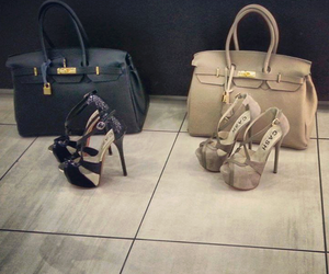 black heels and bags image