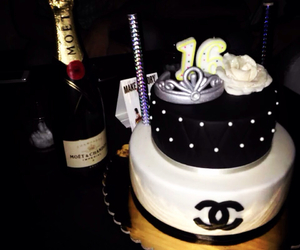 chanel, cake, and champagne image