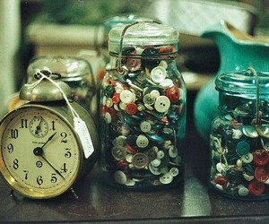 vintage, clock, and buttons image
