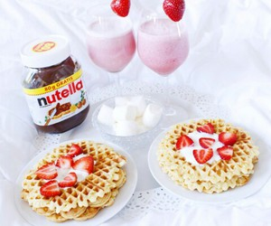 nutella, food, and strawberries image