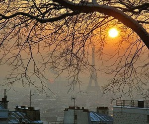 paris, sun, and sunset image