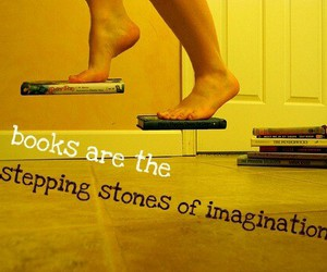 book, imagination, and feet image