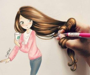brunette, drawing, and girl image