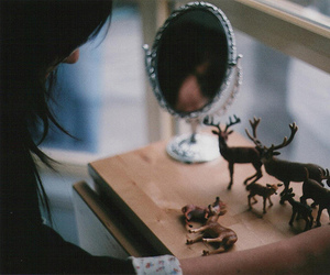 girl, deer, and mirror image