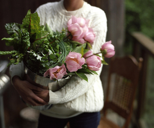 girl, kinfolk, and peonies image
