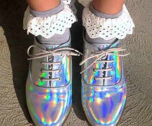shoes and holographic image