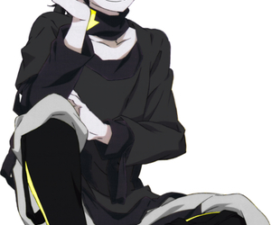 anime, black and white, and yellow image