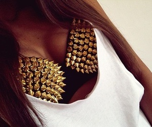 gold spikes, bra, and rave bra image