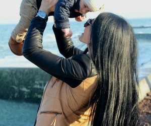 baby, hair, and mom image