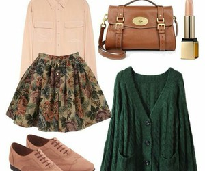 bag, shoes, and green cardigan image