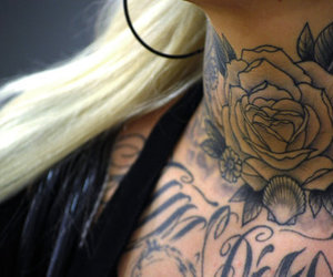 tattoo, rose, and blonde image