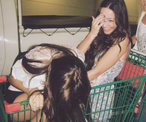shopping cart, friends, and grunge image
