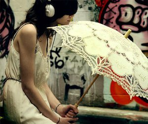 art, girl, and umbrella image