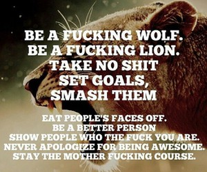 lion, wolf, and quotes image
