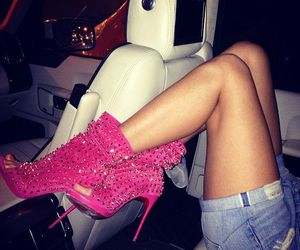pink, shoes, and car image