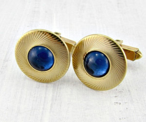 mens cufflinks, vintage mens jewelry, and gold circle cufflinks image