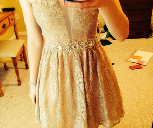 dress, glitter, and gold image
