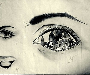 draw, eyes, and night image