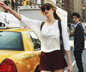 girl, fashion, and taxi image
