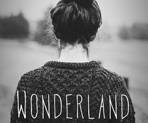 wonderland, girl, and black and white image
