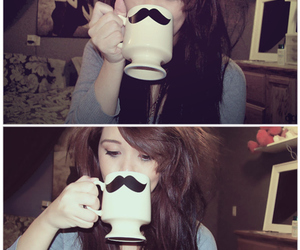 girl, mustache, and cup image