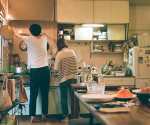 couple, love, and kitchen image