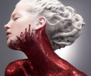 red, glitter, and art image