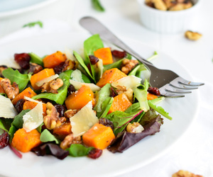salad, apple cider, and butternut squash image