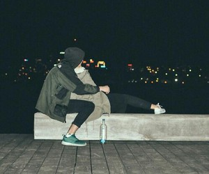 couple, love, and night image