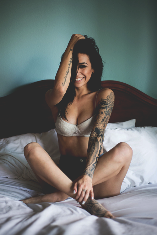bed, hair, and bra image
