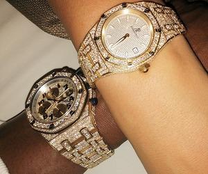 watch, couple, and diamond image
