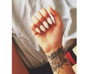 nails, tattoo, and rose image