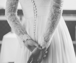 dress, lace, and bride image