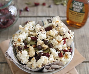 popcorn, healthy snack, and trail mix image