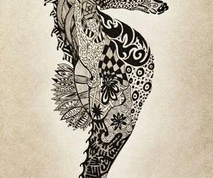 seahorse, drawing, and black image