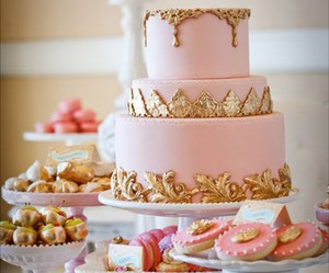 cake, pink, and gold image