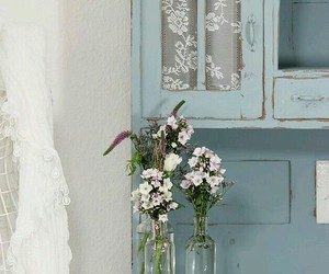 blue and white, shabby chic, and decor image