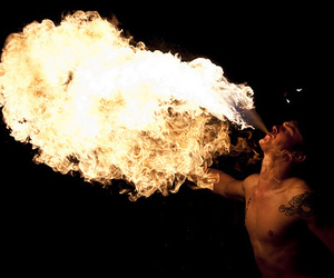 fire, boy, and tattoo image