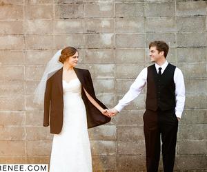 sunlight, tuxedo, and wedding dress image