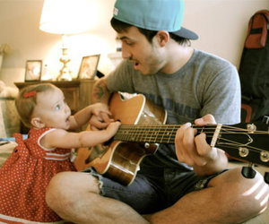 cute, baby, and guitar image
