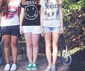 girl, nirvana, and the beatles image