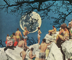 art, moon, and Collage image