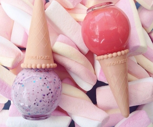 make up, nails, and ice cream image
