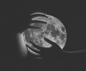 moon, hands, and black and white image
