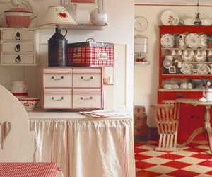 decor, kitchen, and red and white image
