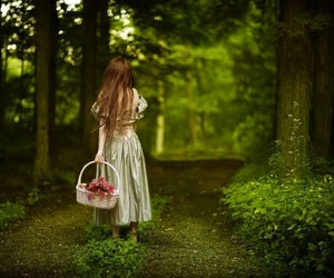 girl, forest, and magic image