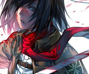 blood, shingeki no kyojin, and mikasa ackerman image